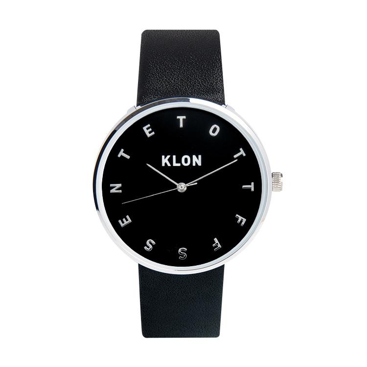 KLON ALPHABET TIME BLACK 【BLACK SURFACE】 Ver.SILVER 40mm , レディース メンズ 腕時計 黒 シンプル モノトーン モノクロ 誕生日 秋 冬 腕時計 クリスマス