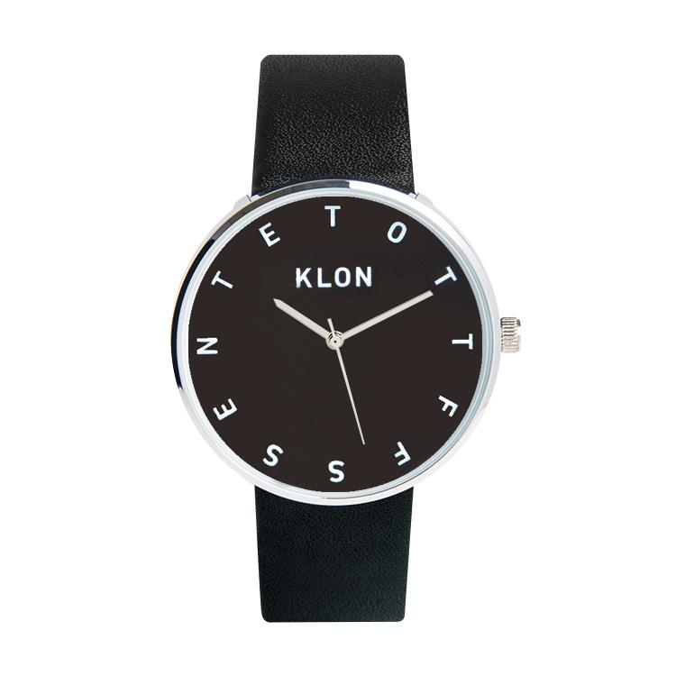 KLON ALPHABET TIME BLACK 【BLACK SURFACE】 40mm , クローン レディース メンズ 腕時計 黒 シンプル モノトーン モノクロ 誕生日 夏 腕時計 お揃い 祝い ギフト プレゼント