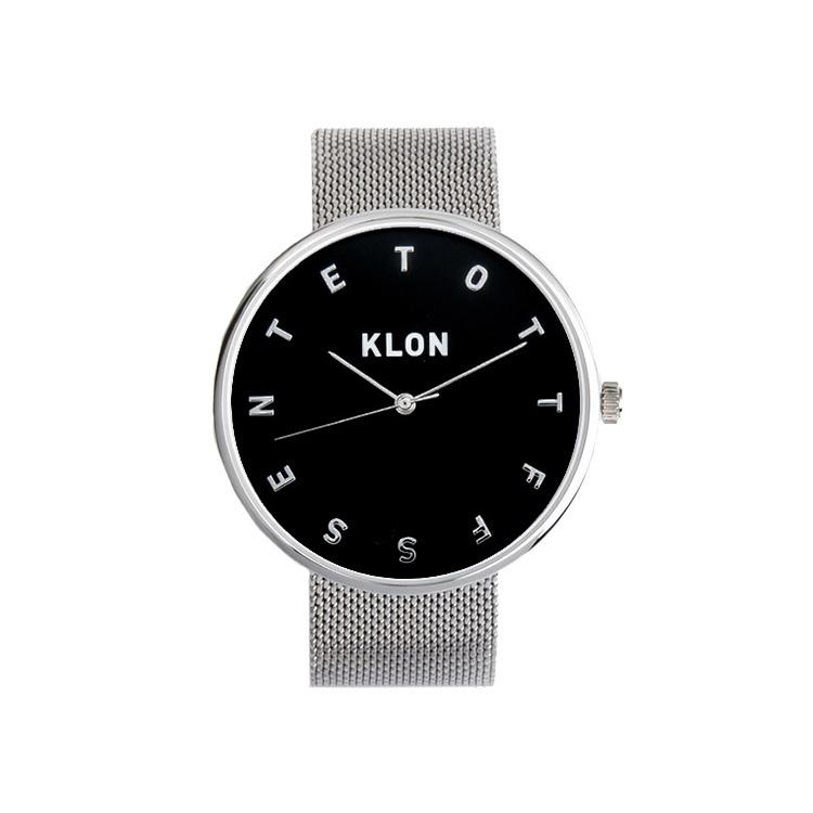 KLON ALPHABET TIME -SILVER MESH- 【BLACK SURFACE】 Ver.SILVER 40mm , レディース メンズ 腕時計 シルバー シンプル モノトーン モノクロ 誕生日 秋 冬 腕時計 クリスマス