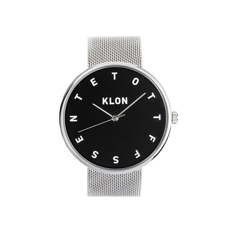 KLON ALPHABET TIME -SILVER MESH- 【BLACK SURFACE】 40mm , レディース メンズ 腕時計 シルバー シンプル モノトーン モノクロ 誕生日 秋 冬 腕時計 クリスマス