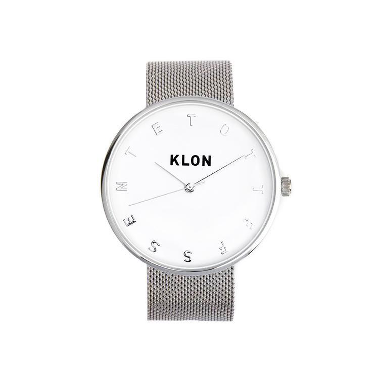 KLON ALPHABET TIME -SILVER MESH- Ver.SILVER 40mm , レディース メンズ 腕時計 シルバー シンプル モノトーン モノクロ 誕生日 秋 冬 腕時計 クリスマス