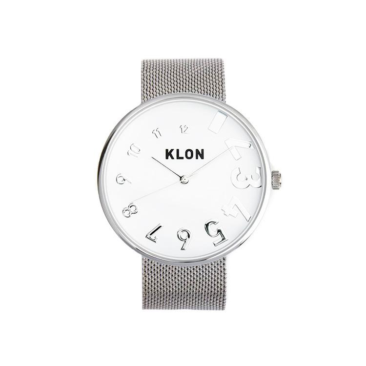 KLON EDDY TIME -SILVER MESH- Ver.SILVER 40mm , レディース メンズ 腕時計 シルバー シンプル モノトーン モノクロ 誕生日 秋 冬 腕時計 クリスマス