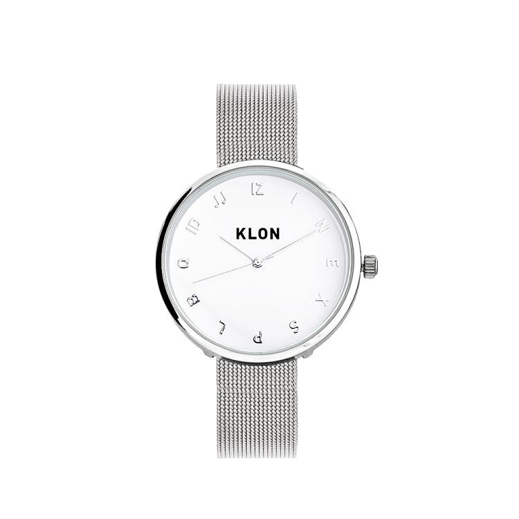 KLON MOCK NUMBER -SILVER MESH- Ver.SILVER 33mm , レディース メンズ 腕時計 シルバー シンプル モノトーン モノクロ 誕生日 秋 冬 腕時計 クリスマス