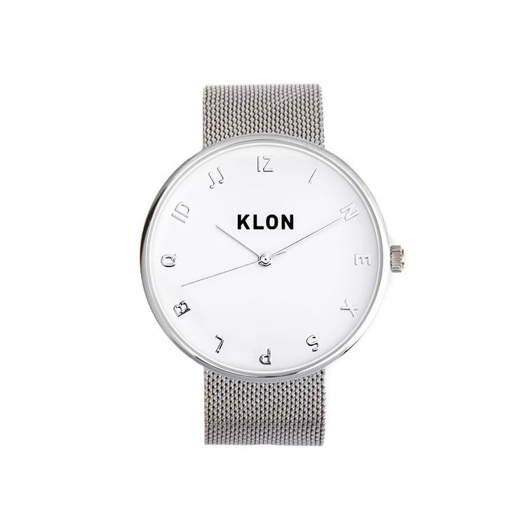 KLON MOCK NUMBER -SILVER MESH- Ver.SILVER 40mm , レディース メンズ 腕時計 シルバー シンプル モノトーン モノクロ 誕生日 初夏 春 腕時計 母の日 進学 バレンタイン 新生活 祝い 就活