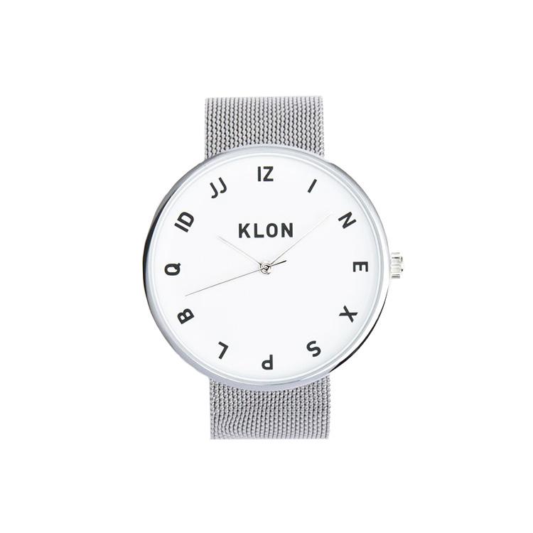 KLON MOCK NUMBER -SILVER MESH- 40mm , レディース メンズ 腕時計 シルバー  シンプル モノトーン モノクロ 誕生日 冬 春 腕時計 卒業祝い 進学 バレンタイン 新生活 祝い 就活