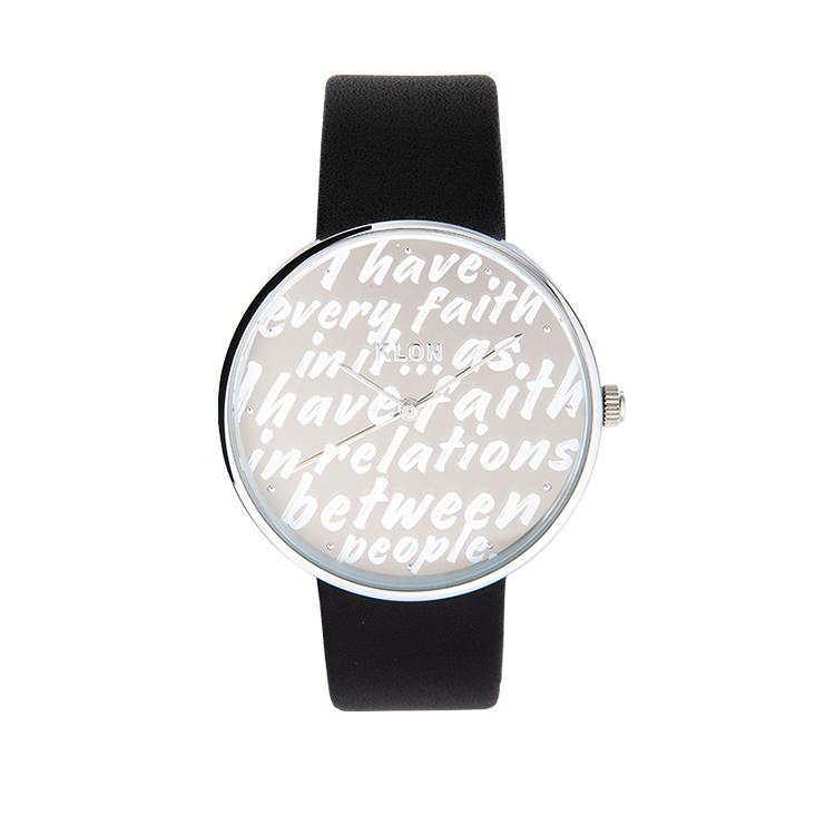 KLON RH Handwriting ANN 40mm , レディース メンズ 腕時計 黒 シンプル モノトーン モノクロ 誕生日 秋 冬 腕時計 クリスマス