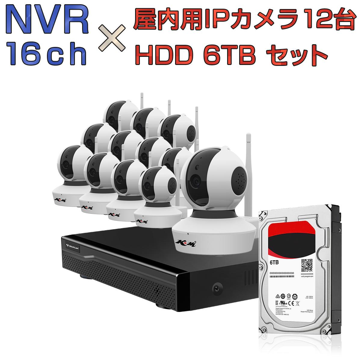 NVR ネットワークビデオレコーダー 16ch HDD6TB内蔵 C23S 2K 1080p 200万画素カメラ 12台セット IP ONVIF形式 スマホ対応 遠隔監視 FHD 動体検知 同時出力 録音対応 H.265+ IPカメラレコーダー監視システム 6ヶ月保証 K&M
