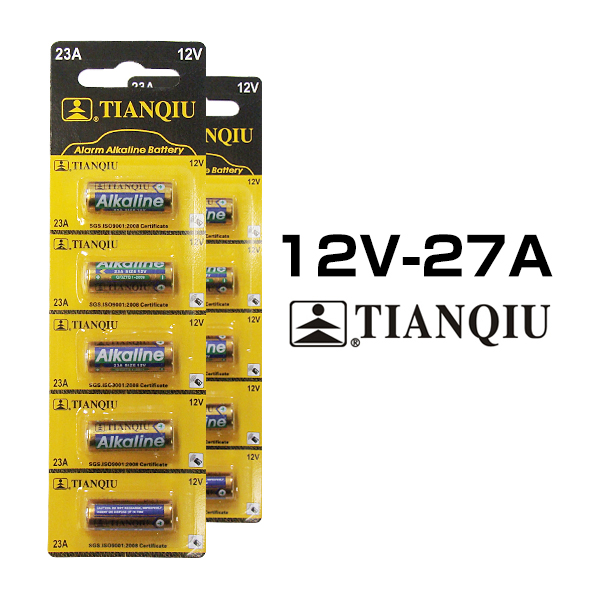 10个12V~27A鲜度第一进入(2席),并且是碱干电池/碱/干电池/ 12V / 27A / TIANQIU / A23 23AE LRV8-1BP MN221 V23GA 181A 3LR50互相交换