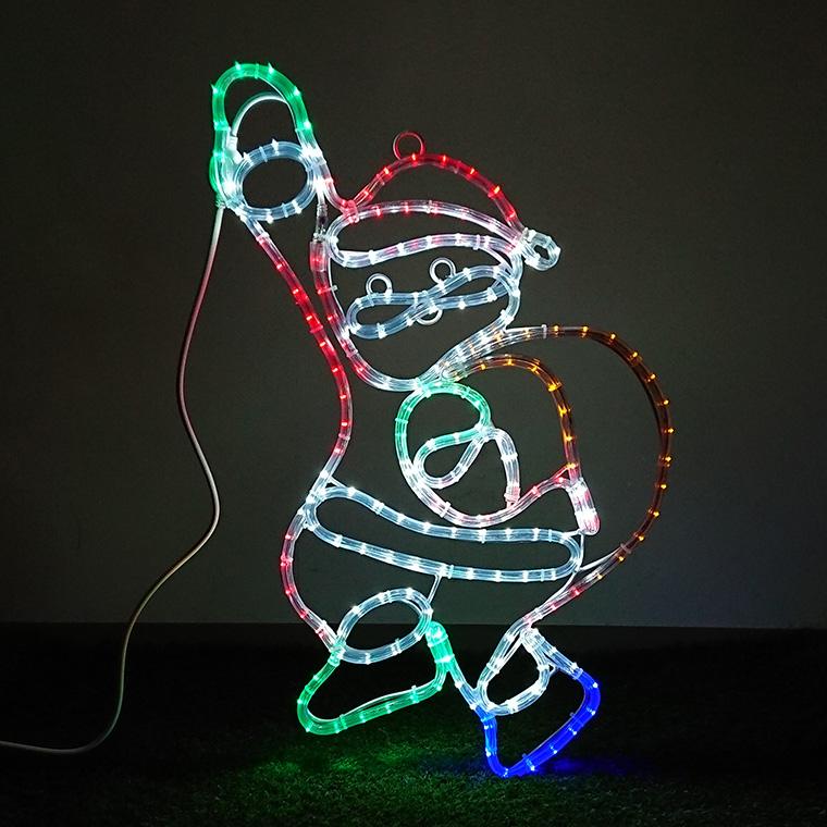イルミネーション モチーフライト サンタ 70×40cm サンタクロース LED ライト 屋外用 防雨 防水 かわいい 2D 大きい 庭 ガーデンンライト 吊り下げ 電飾 フェンス マンション 樹木