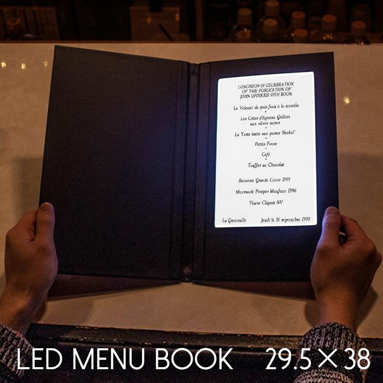 LED メニューブック 縦長 1ページ 合皮 充電式 本型 29.5×38cm おしゃれ 光る メニュー表 レザー リスト 高級 結婚式 ホテル レストラン バー イベント 演出 業務用 ライトアップ ウエディング パーティー 見開き カバー
