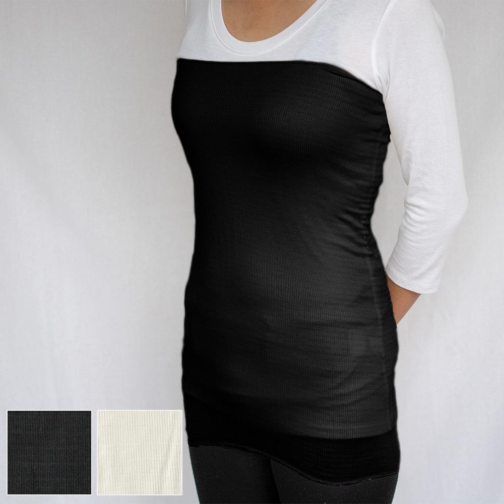 【メール便送料無料】 上質 シルク100% 薄手 腹巻 ロング 約54cm丈 M~L ユニセックス レディース メンズ 全2色 絹 はらまき ボディーウォーマー 冷えとり 温活 natural sunny<BR><BR>