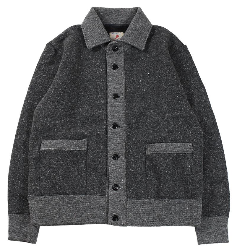 TROPHY CLOTHING [-Salt&Pepper Button Sweat Jacket- Gray Mix size.36,38,40,42]