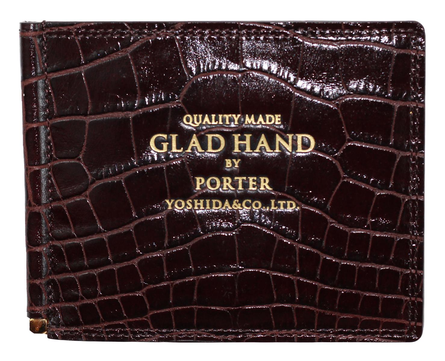 PORTER × GLAD HAND [-GH - BELONGINGS MONEY CLIP- CROCOLIKE BROWN]