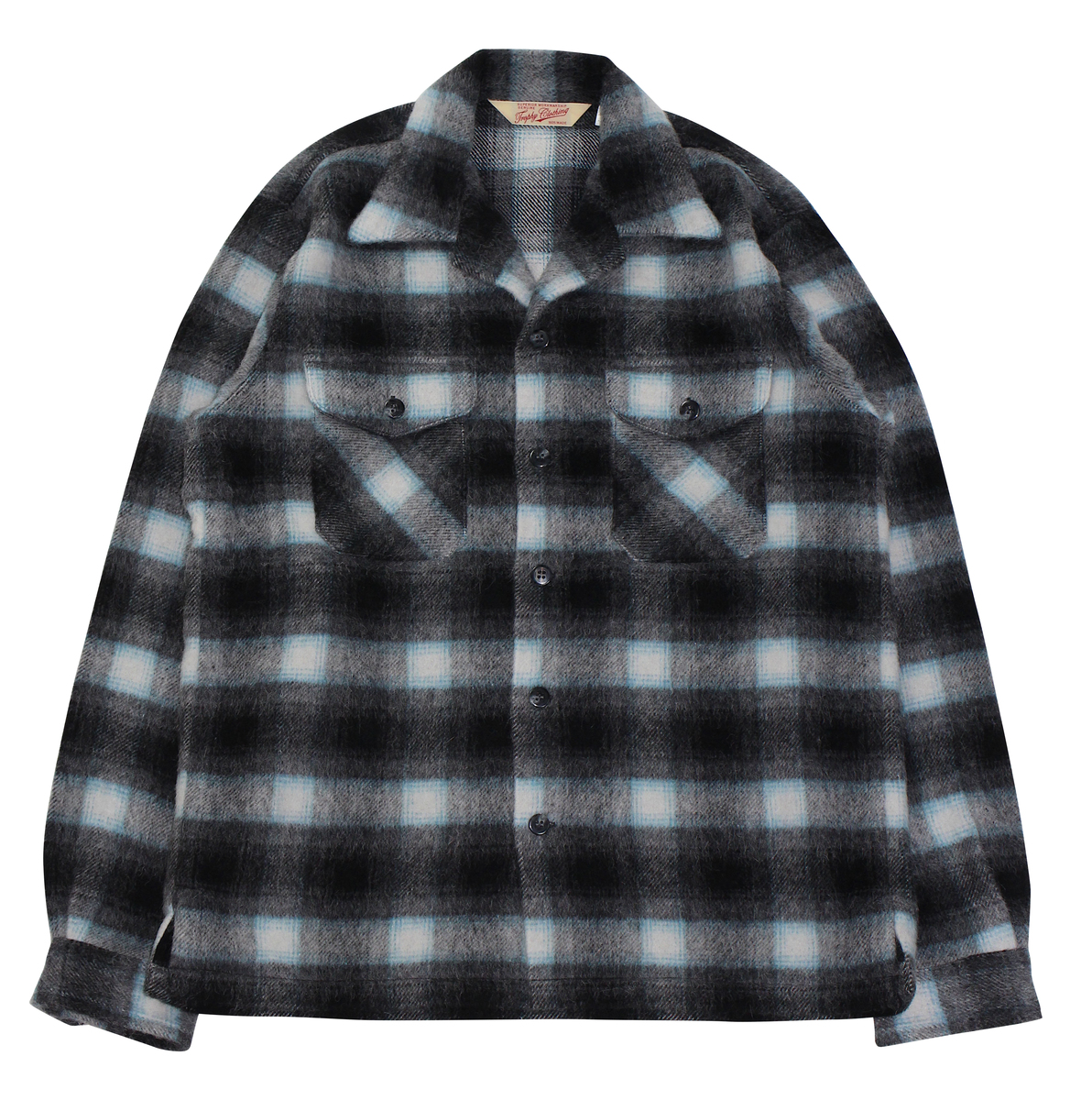 TROPHY CLOTHING [-Frisco Shaggy Wool L/S Shirt- Black size.14,15,16,17]