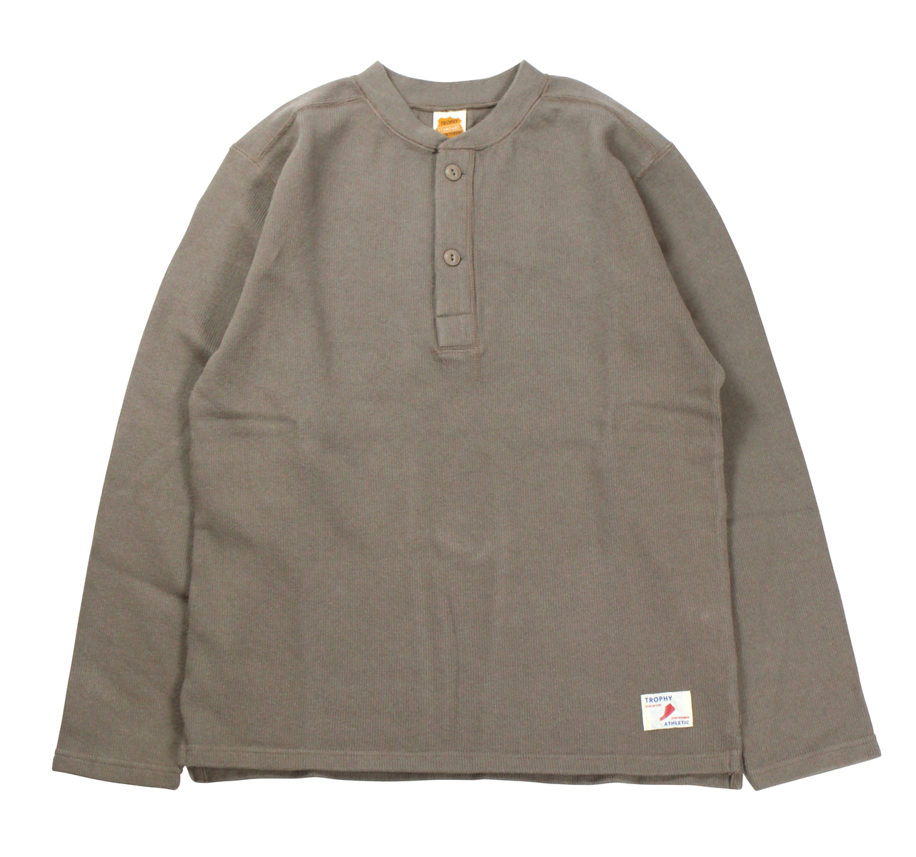 TROPHY CLOTHING [-Naval Henley L/S Tee- Brown size.36,38,40,42]