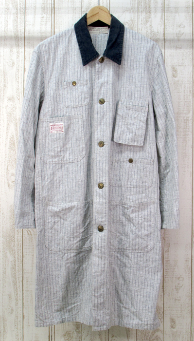【中古】BONCOURA ボンクラ ロング コート ストライプ【ファッション】※2019年5月入荷※