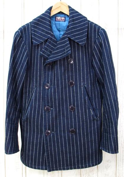 【中古】BLUE BLUE Pコート COAT ストライプ ブルーブルー【ファッション】※2019年5月入荷※