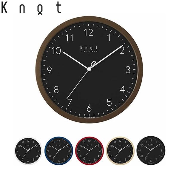 Knot カスタマイズ掛け時計 6色のフレームを自由に組合せ アラビア数字 ブラック文字盤 27cm | ノットクロック CLOCK Arabic スイープセコンド 静かな秒針 日本製 壁掛け時計 音がしない おしゃれ
