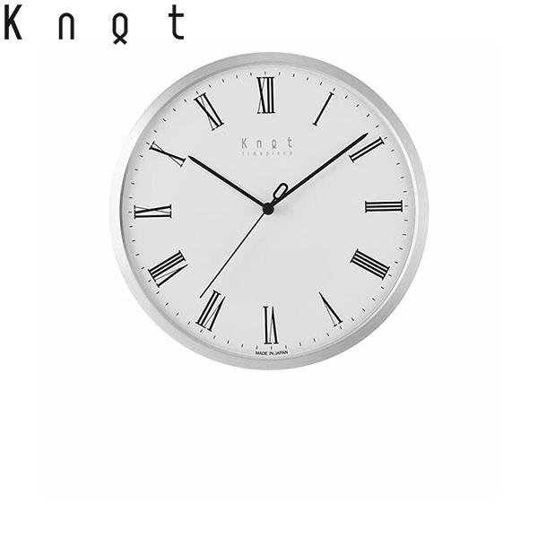 Knot カスタマイズ掛け時計 ローマ数字インデックス ホワイト×シルバー 27cm | ノットクロック CLOCK Roman スイープセコンド 静かな秒針 日本製 壁掛け時計 音がしない おしゃれ