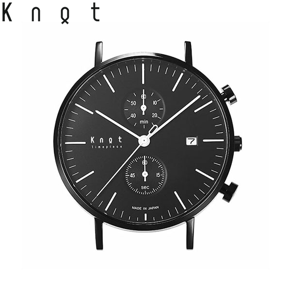 """【ギフト包装無料】Knot(ノット)""""クラシック クロノグラフ""""ブラック & ブラック(モノトーンコレクション)時計本体のみ(ベルト別売り)腕時計/サファイアガラス/日本製/MADE IN JAPAN/"""