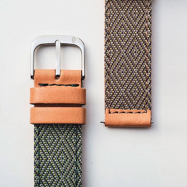Knot(ノット)岡山高田織物 畳縁 ストレートシェイプストラップ 時計ベルト 18mmグリーン×オーク & ローズゴールドバックルベルトのみ購入はメール便のため代引き・着日指定・包装は不可畳縁/栃木レザー/腕時計/日本製