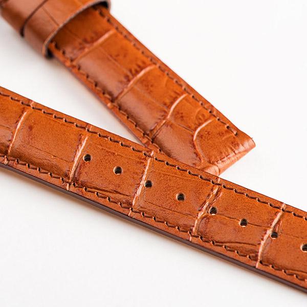 Knot(ノット)クロコダイルスタンパードストラップ トラディショナルシェイプ 時計ベルト 18mmアイボリー & ローズゴールドバックルベルトのみ購入はメール便のため代引き・着日指定・包装は不可牛革型押し/腕時計/日本製