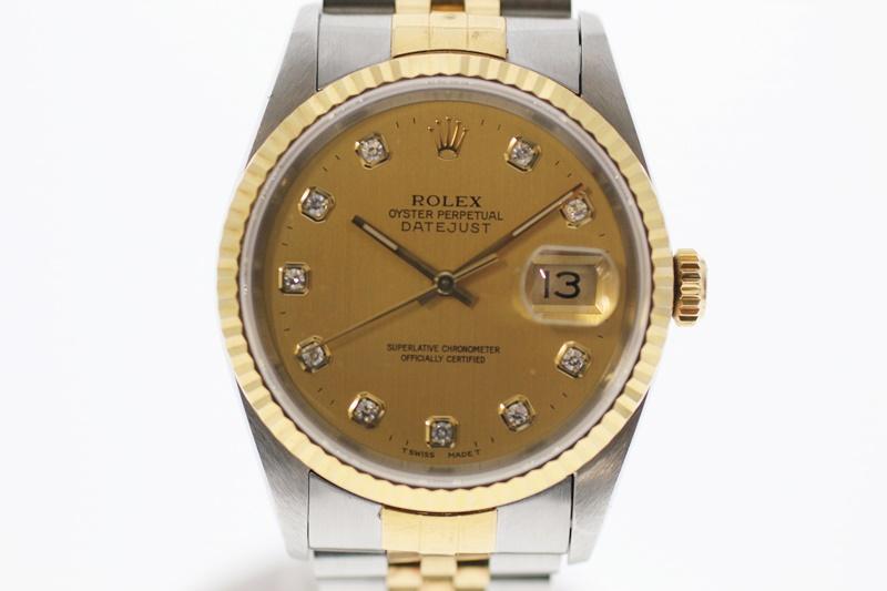 【中古】ROLEX ロレックス デイトジャスト 10Pダイヤ 16233G ゴールド文字盤 自動巻き USED-B メンズ 腕時計 m19-1200299925800053