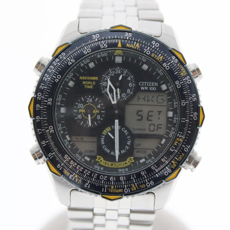 【中古】CITIZEN シチズン ブルーエンジェル クオーツ  黒文字盤 USED-B メンズ 腕時計 m19-1200296925800069