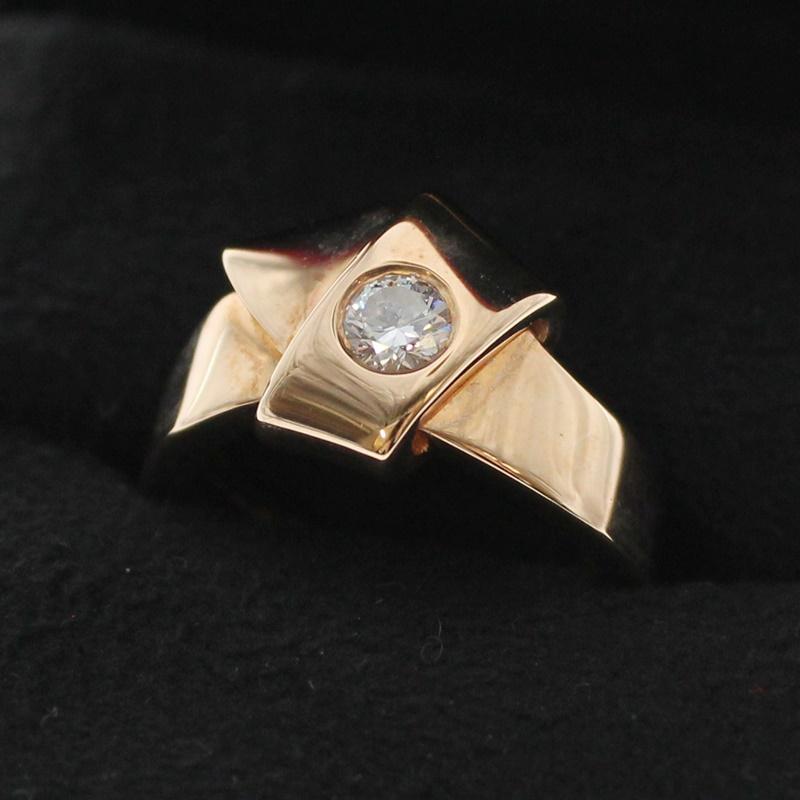 【中古】Cartier カルティエ ノットリング 1Pダイヤモンド K18PG 750表記 約7.5号/48 ブランド アクセサリー 指輪 USED-B m19-1200285925800024