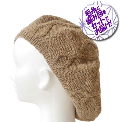 毛糸と編み図をセットでお届け☆ 秀逸 内藤商事 ベレー帽 ミックスネップ1玉 編図 着分セット 超安い