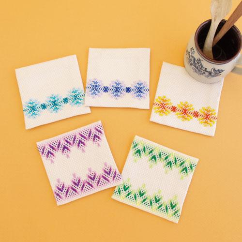 刺繍キット 無料 オリムパス スウェーデン刺しゅうキット 5枚1組 コースター スピード対応 全国送料無料