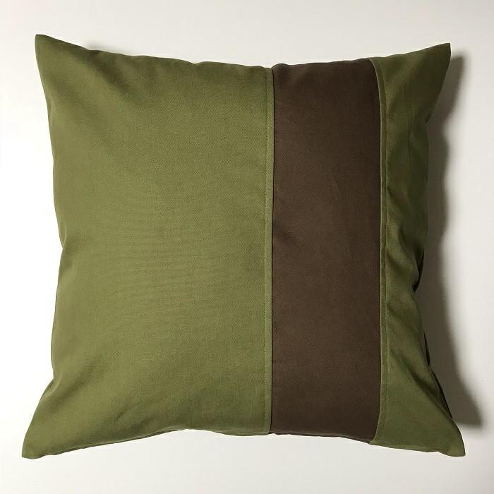 グリーンベース/ブラウンライン●クッションカバー45cm×45cm