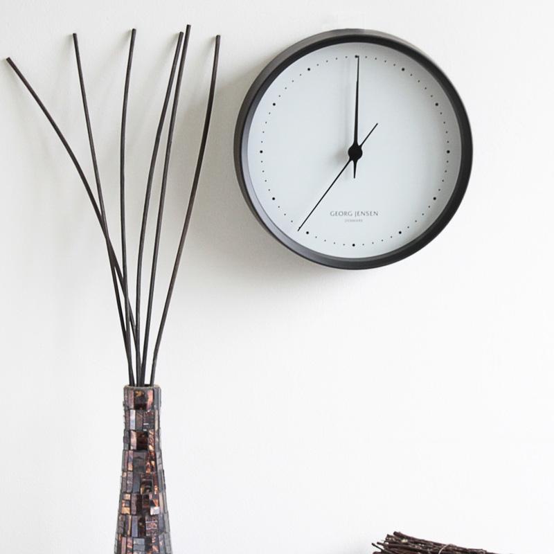 ジョージジェンセン HK CLOCK ウォールクロック 22cm ブラックステンレス&ホワイトダイヤル