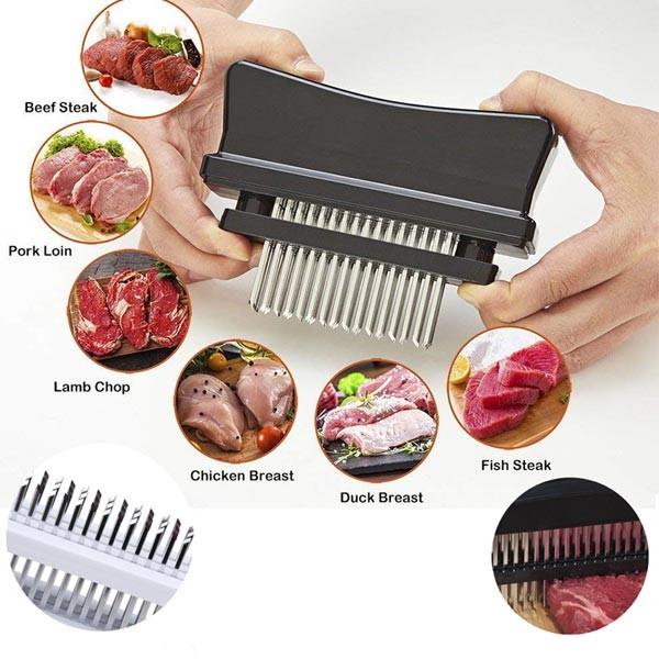 メール便 ミートテンダー 肉筋切り器 48本刃 調理器具 超人気 ステンレス刃 待望 洗浄ブラシセット キッチン用品