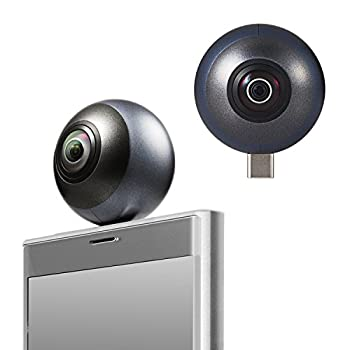 中古 エレコム 低価格 360度カメラ スマホ直挿しタイプ 静止画 新色追加して再販 動画 全天球カメラ OCAM-VRU01BK