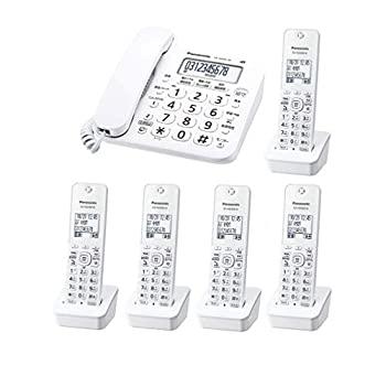 【中古】パナソニック デジタルコードレス電話機 子機5台付き(全台増設済み) 迷惑電話対策機能搭載 VE-GD26DL-W(子機1台付属)と 増設子機KX-FKD404-