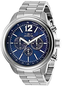 中古 Invicta Men's Aviator Steel Bracelet Case Quartz Analog 全品送料無料 28895 Blue Watch 送料無料でお届けします Dial