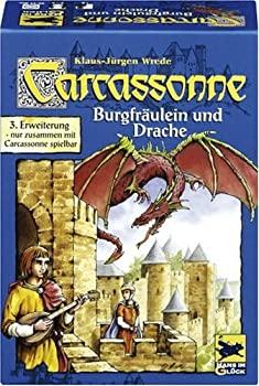 期間限定今なら送料無料 中古 カルカソンヌ拡張セット 王女とドラゴン Carcassonne: Burgfraulein Drache 出荷 Fur 2 - mit zusammen Nur Spieler Carcassone 6 ボー spielbar