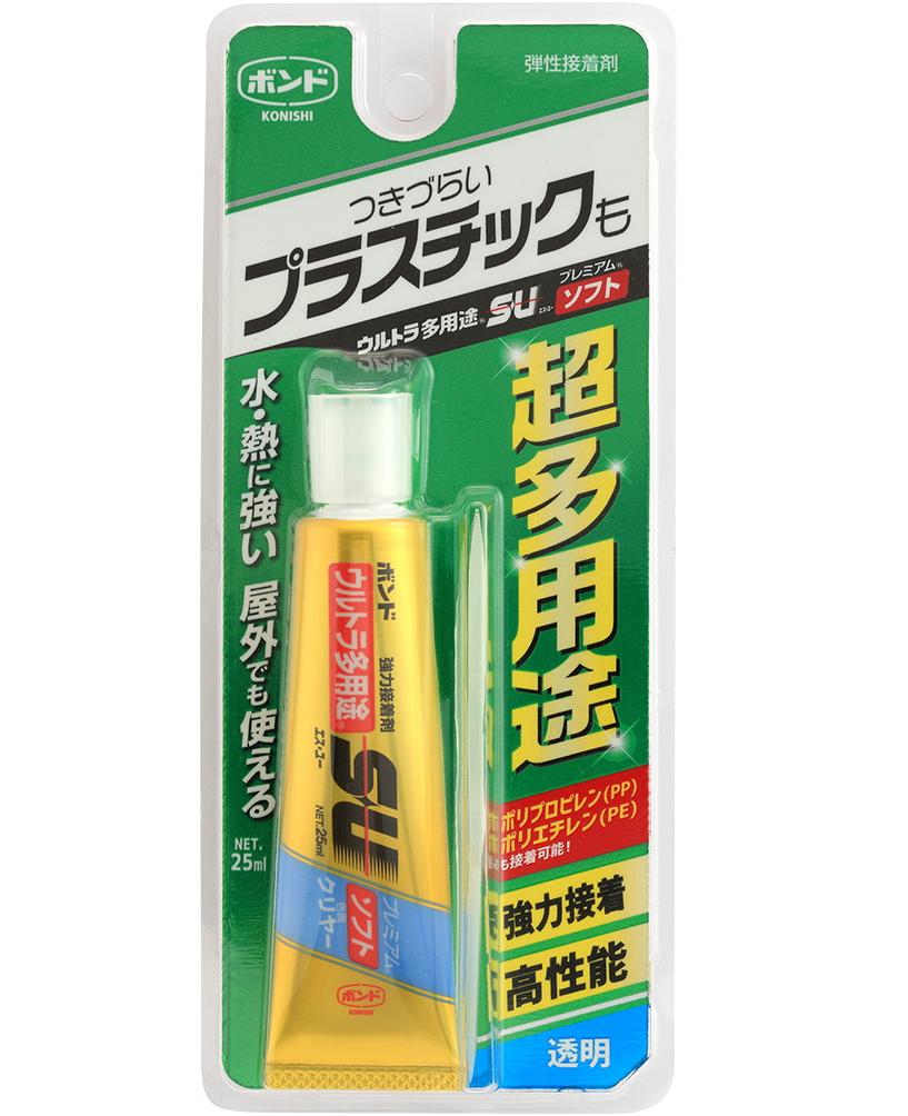PP・PEも接着可能な透明多用途接着剤 コニシ ウルトラ多用途SUプレミアムソフト クリヤー 25ml