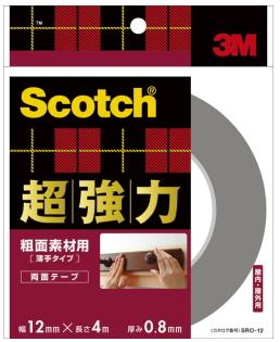 3M(スリーエム) 超強力両面テープ粗面素材用 (SRO-12) 12×4m小箱20巻入り