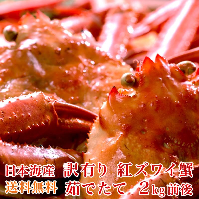 【送料無料】訳あり 日本海産 茹でたて紅ズワイ蟹 2kg【かに カニ 蟹】 小針水産