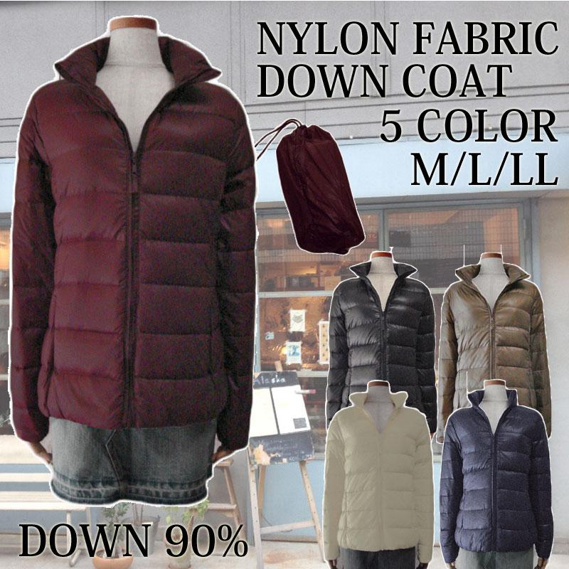 Minghe レデイース ダウンジャケット 軽量 ポケッタブル ダウンコート フード付き カラフル ライト 防寒着 アウトドアウェア