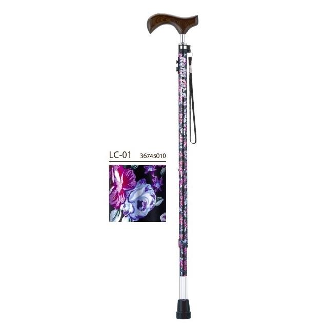 フランスベッド株式会社 リハテック ライトケイン LC-01(木製グリップと花柄のシャフト) 1本<光る杖>(商品発送まで6-10日間程度かかります)(この商品は注文後のキャンセルができません)
