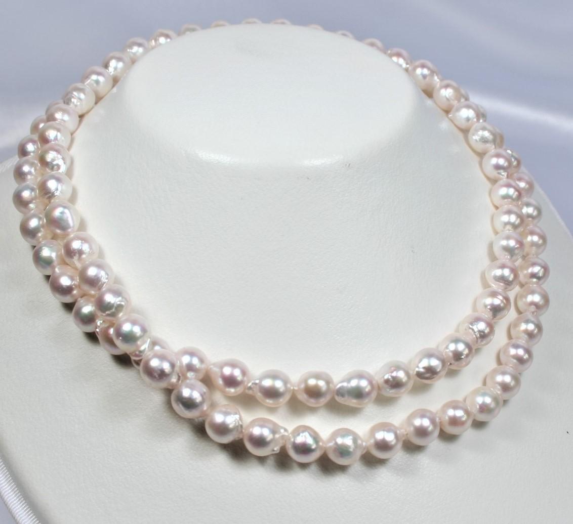 【送料無料!】日本産アコヤ真珠ロングネックレス:80~160センチ(8-8.5ミリ) (バロックネックレス、バロックパールネックレス、ロングネックレス、あこや真珠ネックレス、パールネックレス、真珠ネックレス、あこや本真珠ネックレス)