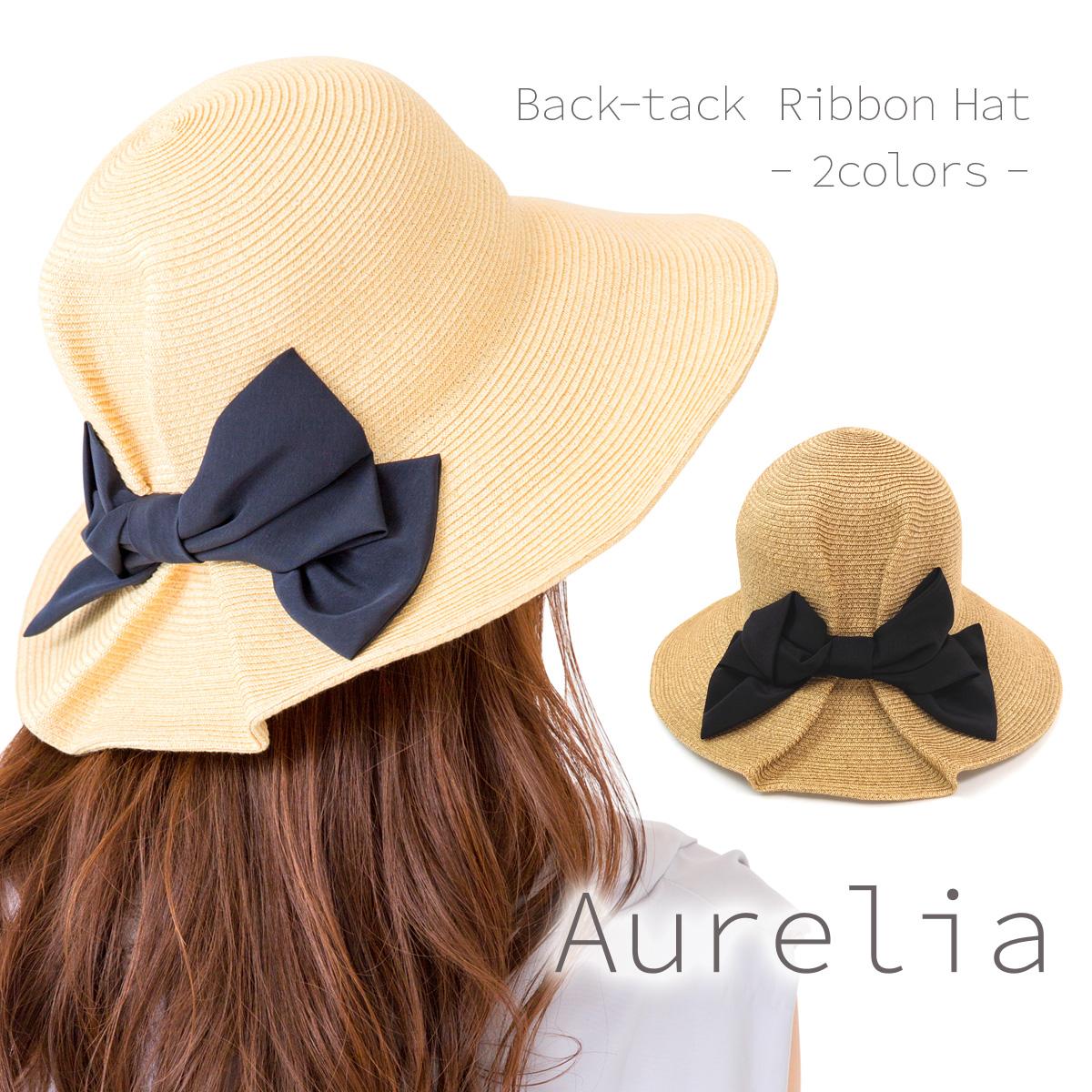 Aurelia バックタックリボンハット【日本製】【送料無料】 帽子 レディース