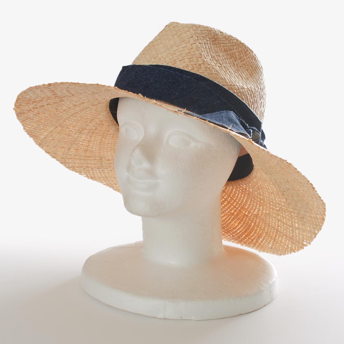 K-STYLE outlet hat  Denim ribbon raffia broad-brimmed hat  dfac947cb