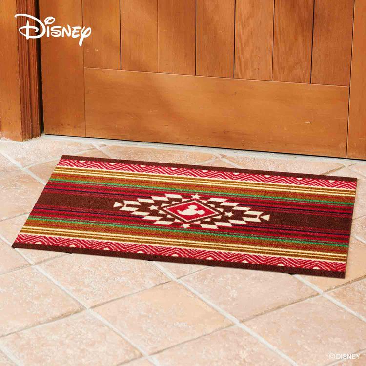 Disney Mat Collection ディズニー 玄関マット Mickey/ミッキー キリム レッド 60 × 90 cm   屋外 外 洗える 丸洗い 薄型 おしゃれ かわいい ずれない 滑り止め エントランスマット ドアマット 国産 日本製 クリーンテックス製