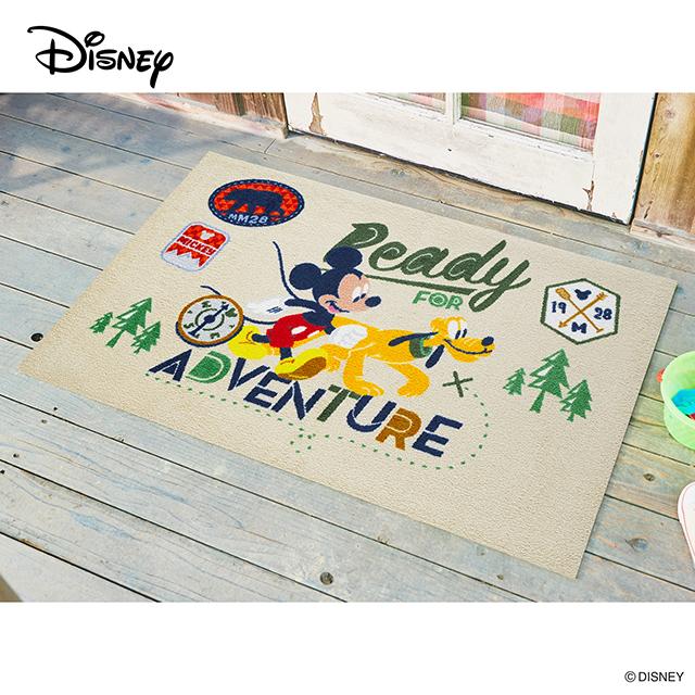 Disney Mat Collection ディズニー 玄関マット Mickey/ミッキー アドベンチャー 75 × 120 cm   屋外 外 ブラウン/ブルー 洗える 丸洗い 薄型 おしゃれ かわいい ずれない 滑り止め エントランスマット ドアマット 国産 日本製 クリーンテックス製