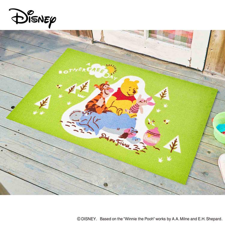 Disney Mat Collection ディズニー 玄関マット Pooh/プー&フレンズ 75 × 120 cm | 屋外 外 グリーン 洗える 丸洗い 薄型 おしゃれ かわいい ずれない 滑り止め エントランスマット ドアマット 国産 日本製 クリーンテックス製