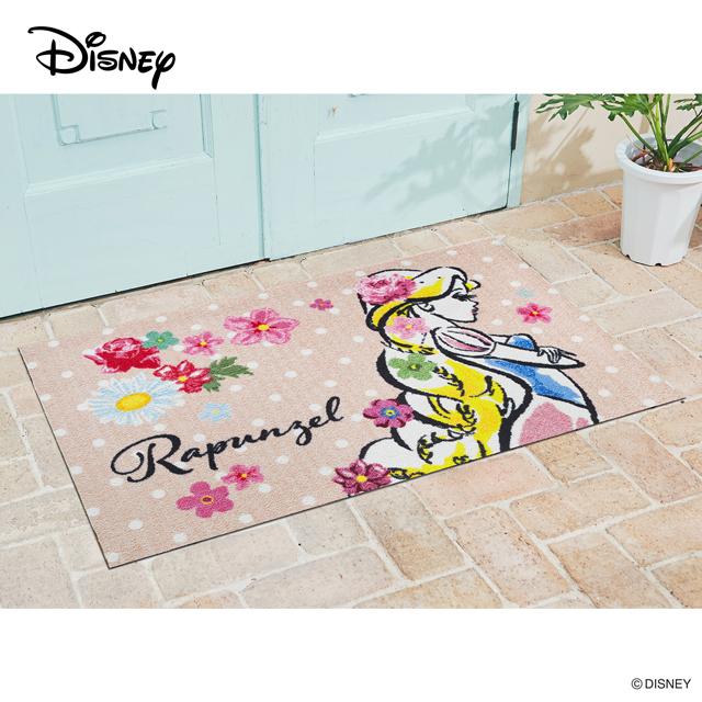 Disney Mat Collection ディズニー 玄関マット Rapunzel/ラプンツェル 75 × 120 cm | 屋外 外 ベージュ 洗える 丸洗い 薄型 おしゃれ かわいい ずれない 滑り止め エントランスマット ドアマット 国産 日本製 クリーンテックス製